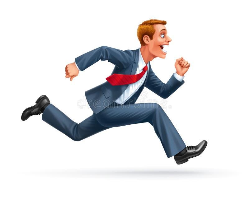 De lopende vector van het zakenmanbeeldverhaal royalty-vrije illustratie