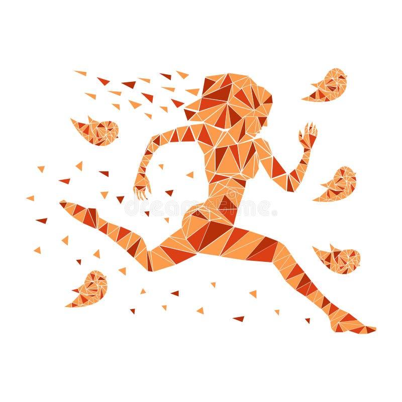 De lopende vrouwen silhouetteren stock illustratie