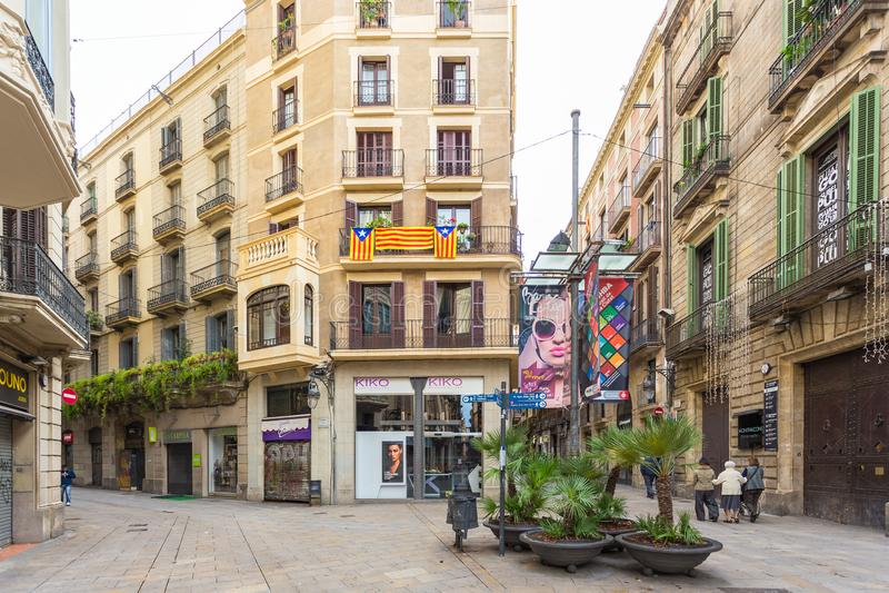 De Los angeles Cucurulla Obciosujący, mały kwadrat w centrum miasteczko, Barcelona, Hiszpania obrazy royalty free