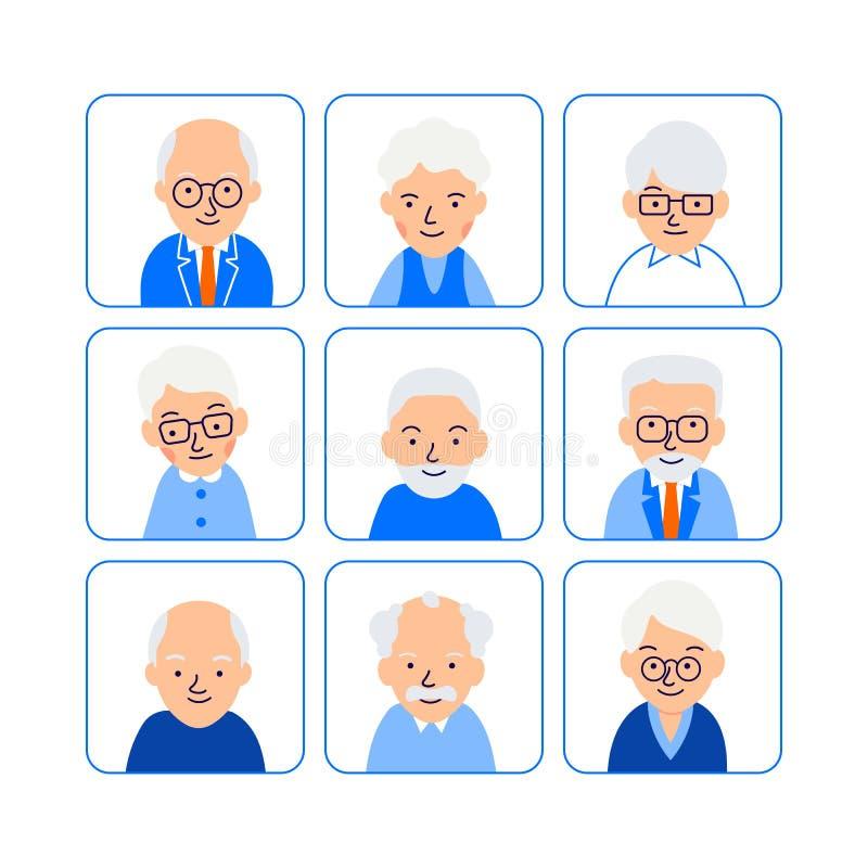 De los avatares de la historieta personas mayores Gente mayor de los símbolos Pensionista feliz de los iconos Hombres y mujeres c ilustración del vector