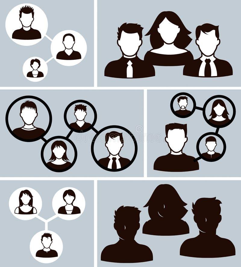De los iconos de la oficina hombres de negocios ilustración del vector