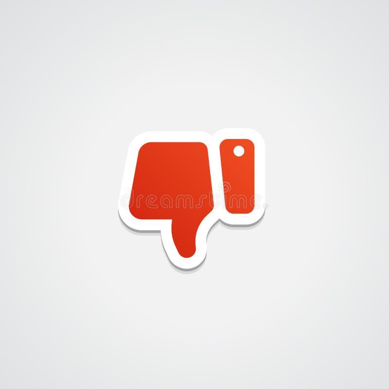 De los pulgares icono de la etiqueta engomada abajo stock de ilustración