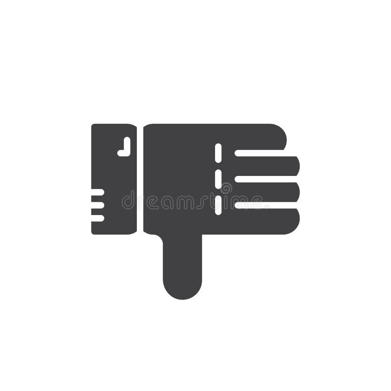 De los pulgares vector del icono abajo, muestra plana llenada, pictograma sólido aislado en blanco libre illustration