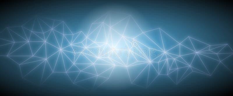 De los triángulos del espacio fondo oscuro polivinílico abstracto bajo stock de ilustración
