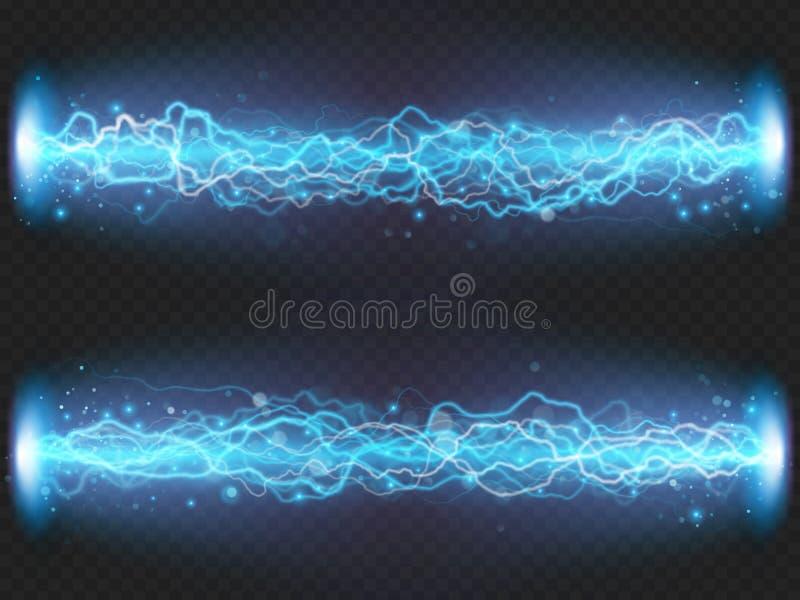 De lossing van de bliksemflits van elektriciteit op transparante achtergrond Blauw elektro visueel effect Eps 10 royalty-vrije illustratie
