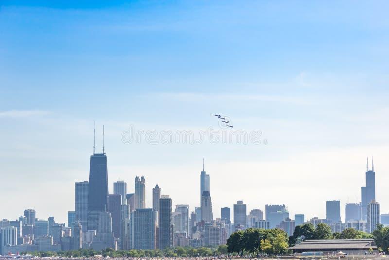 De Lucht en het Water van Chicago tonen, de Marineblauwe Engelen van de V.S. stock foto