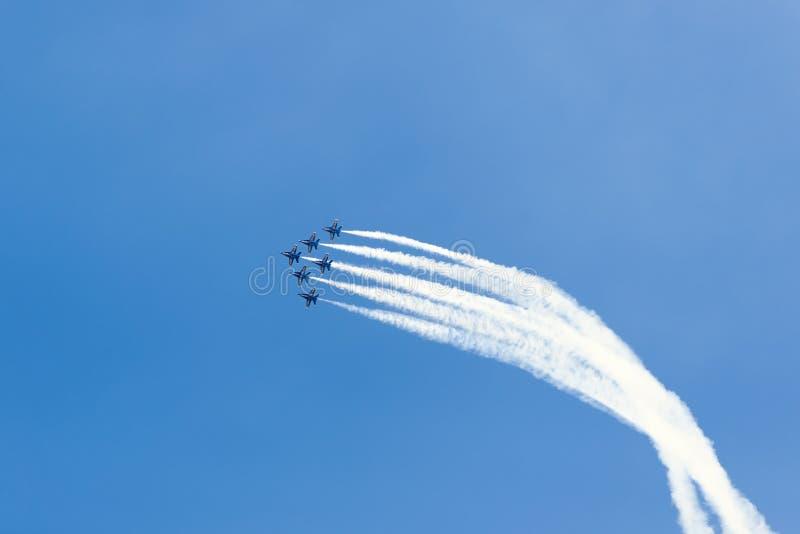 De Lucht en het Water van Chicago tonen, de Marineblauwe Engelen van de V.S. stock afbeelding