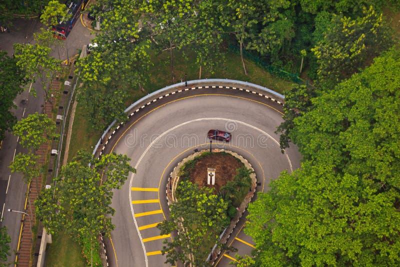De lucht Haarspeld van de Mening zet de Rijweg van Kuala aan Lumpur stock afbeelding
