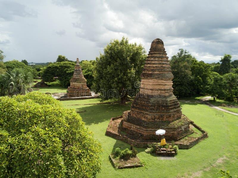 De lucht historische tempel van meningswiang Tha Kan in Lumphun in Thailand stock foto's