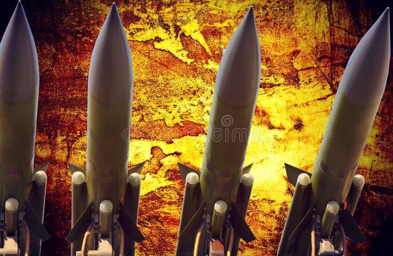 De luchtafweer dramatische foto van raketten abstracte grunge royalty-vrije stock foto