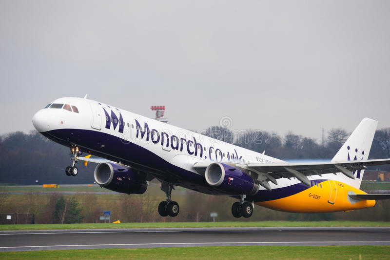 De Luchtbus van de monarch A321 stock afbeelding