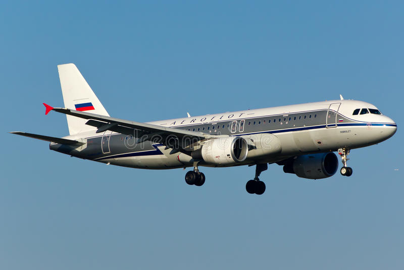 De Luchtbusa320 Vliegtuig van Aeroflot stock afbeelding