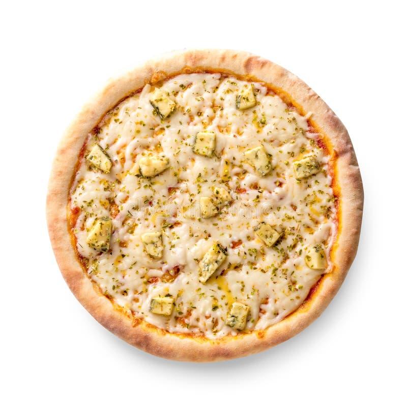 De luchtdiemening op wit van een geheel wordt geïsoleerd bakte vers heerlijke vier kazen Italiaanse pizza op witte achtergrond royalty-vrije stock afbeelding