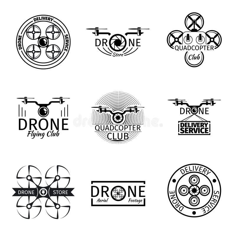 De luchtetiketten, de kentekens en de emblemen van de hommel vliegende club vector illustratie
