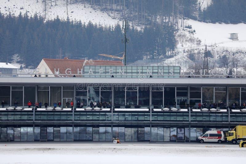 De Luchthaven van Innsbruck, eindmening in de winter royalty-vrije stock afbeelding