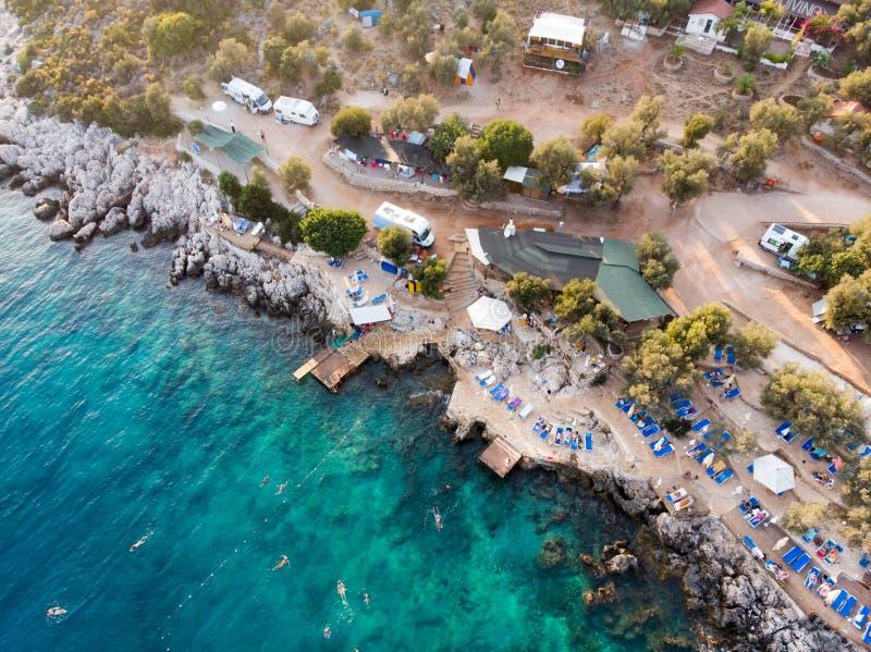 De luchthommelmening van Kas is kleine visserij, het duiken, zeilen en toeristenstad in district van Antalya-Provincie, Turkije royalty-vrije stock afbeelding