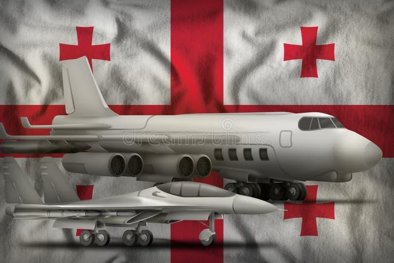 De Luchtmachtconcept van Georgië op de de vlagachtergrond van de staat 3D Illustratie royalty-vrije illustratie