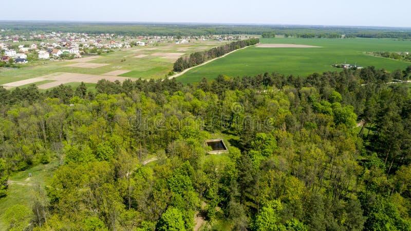 De luchtmening van Adolf Hitler-bunker blijft Woonplaats werwolf dichtbij Vinnitsa, de Oekraïne royalty-vrije stock afbeelding
