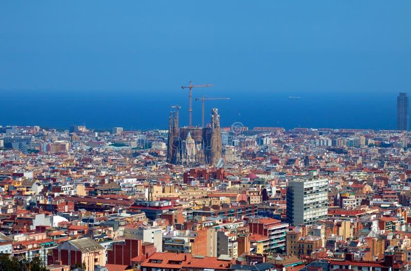 De luchtmening van Barcelona van hierboven royalty-vrije stock afbeeldingen