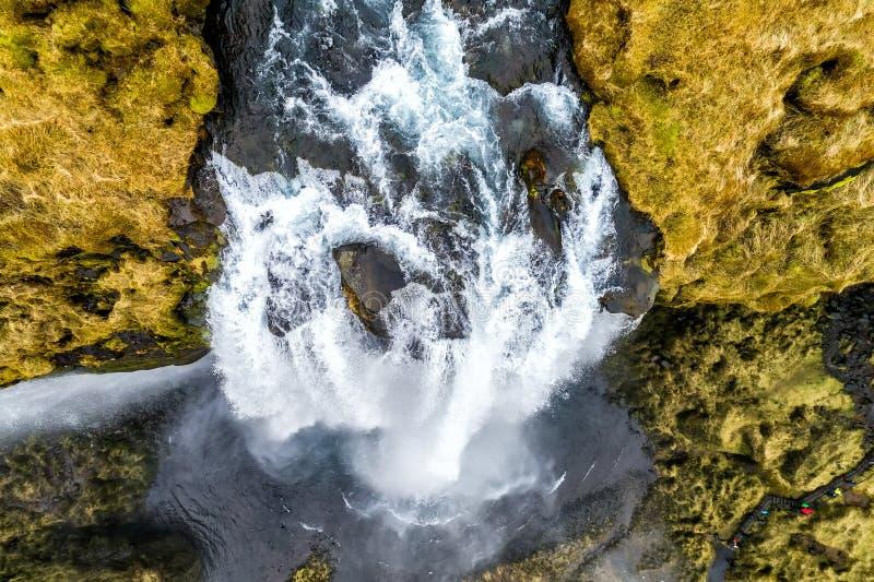 De luchtmening van beroemde Seljalandsfoss is één van meeste beautifu royalty-vrije stock fotografie