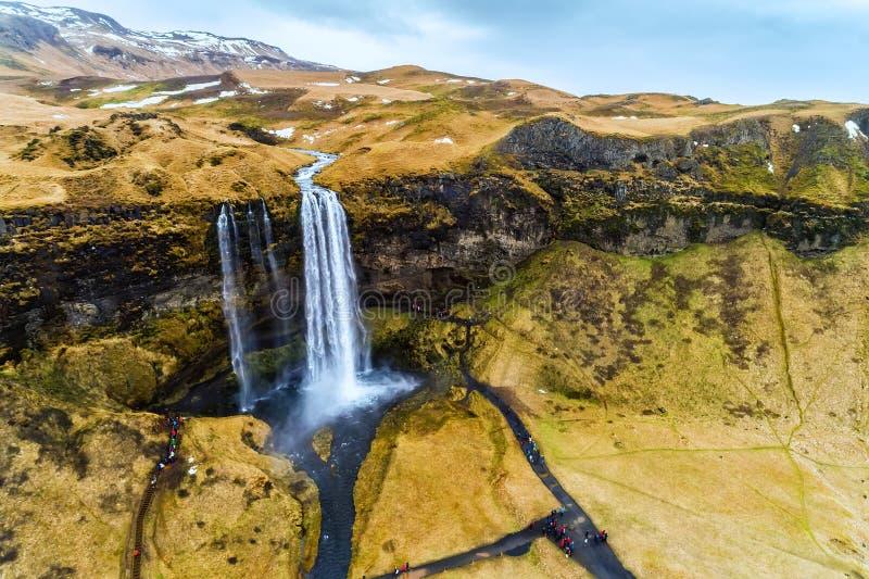 De luchtmening van beroemde Seljalandsfoss is één van meeste beautifu royalty-vrije stock foto's
