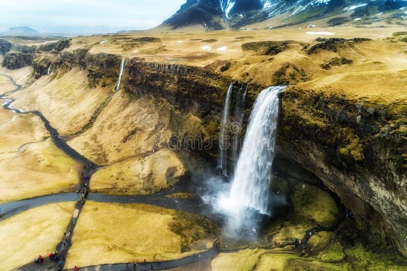 De luchtmening van beroemde Seljalandsfoss is één van meeste beautifu royalty-vrije stock afbeeldingen