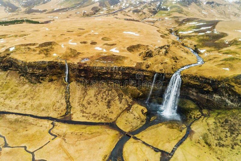 De luchtmening van beroemde Seljalandsfoss is één van meeste beautifu stock foto