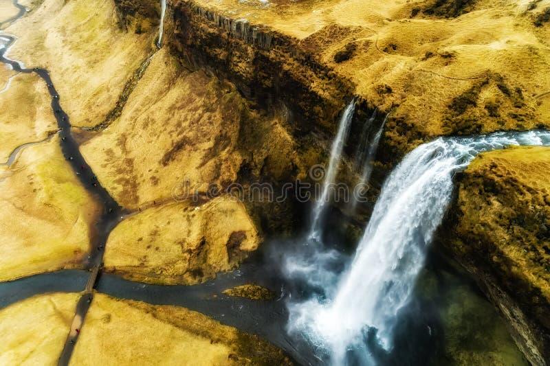 De luchtmening van beroemde Seljalandsfoss is één van meeste beautifu stock foto's