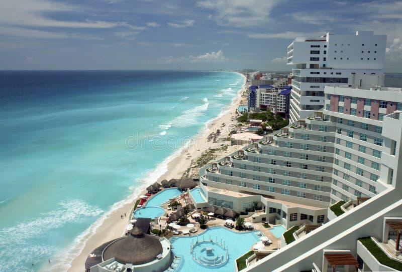 De luchtmening van Cancun stock afbeelding