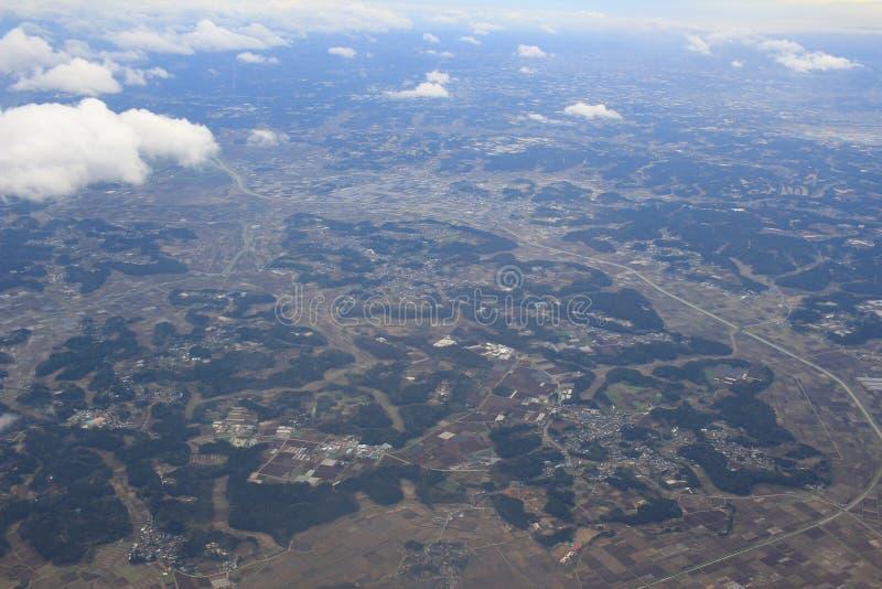 De luchtmening van Chiba, Japan met een vliegtuig stock afbeelding