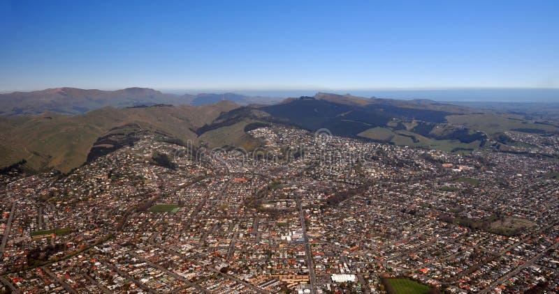 De LuchtMening van Christchurch van Zuidelijke Voorsteden stock foto