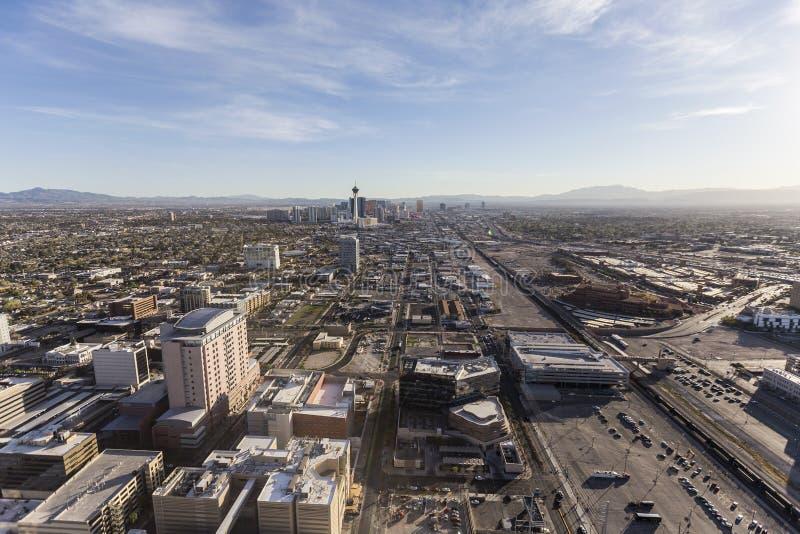 De Luchtmening Van de binnenstad van Las Vegas naar Strook royalty-vrije stock foto's