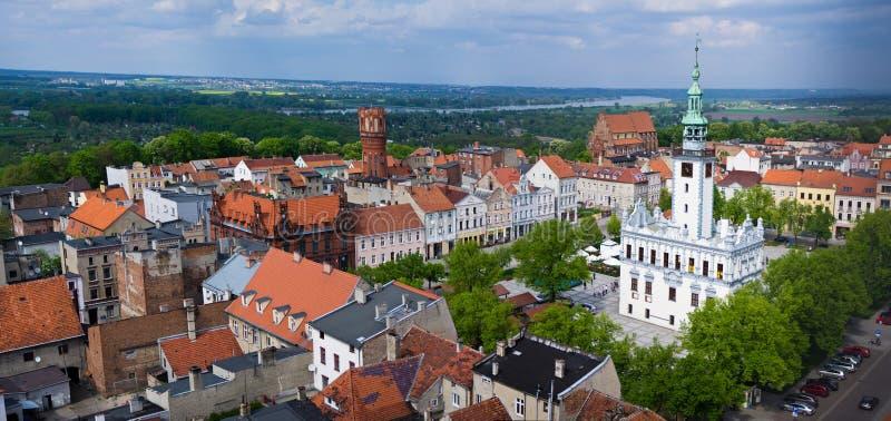 De luchtmening van de Chelmnostad over oud stadscentrum royalty-vrije stock foto