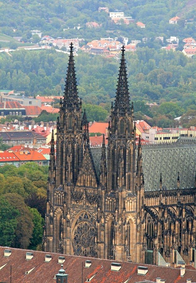 De luchtmening van de Stad van Praag royalty-vrije stock foto