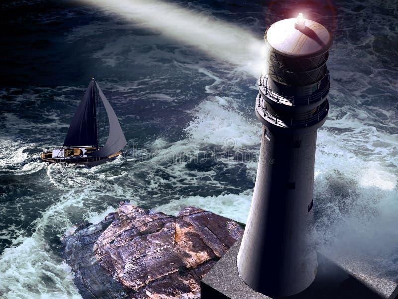 De luchtmening van de vuurtoren en van de zeilboot royalty-vrije illustratie