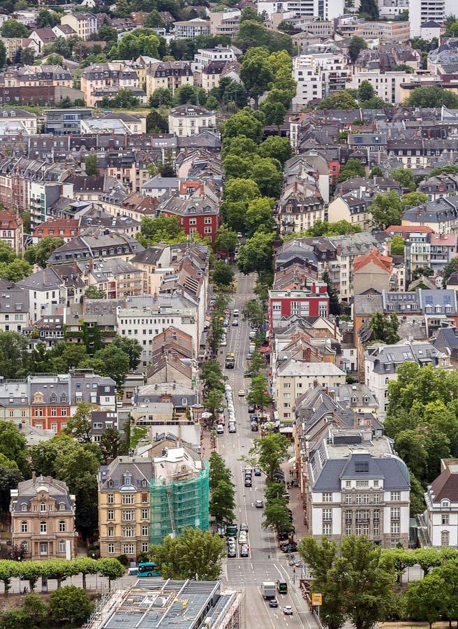 De luchtmening van Frankfurt Duitsland royalty-vrije stock fotografie