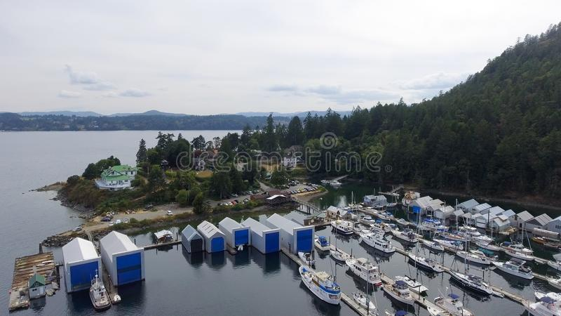 De luchtmening van Genoa Bay in het Eiland van Vancouver stock foto's