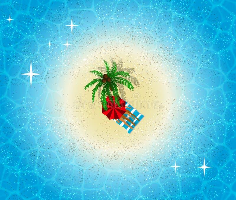 De luchtmening van het paradijseiland, strand met paar in romantische vacationv royalty-vrije illustratie