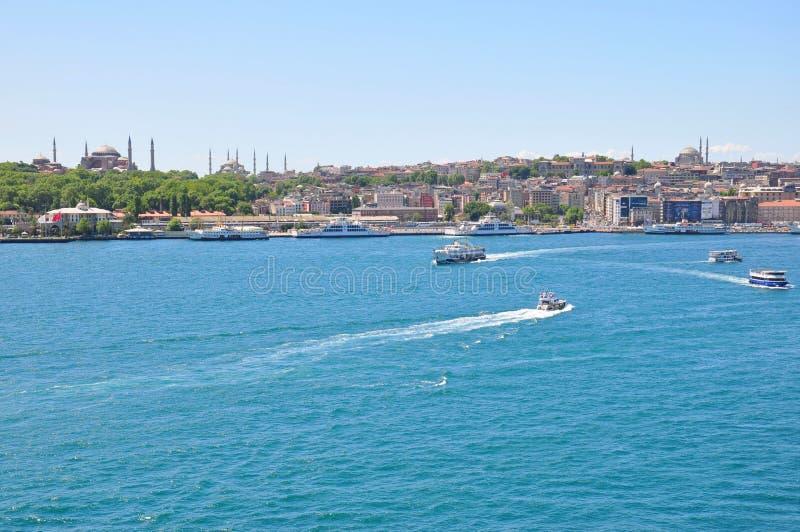 De luchtmening van Istanboel aan stad, Blauwe Moskee en Hagia Sophia Mosque royalty-vrije stock foto