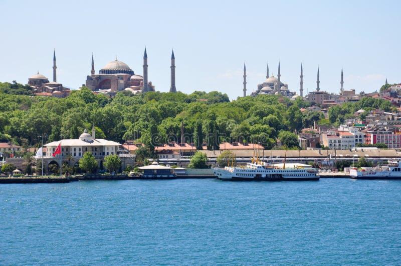 De luchtmening van Istanboel aan stad, Blauwe Moskee en Hagia Sophia Mosque stock fotografie