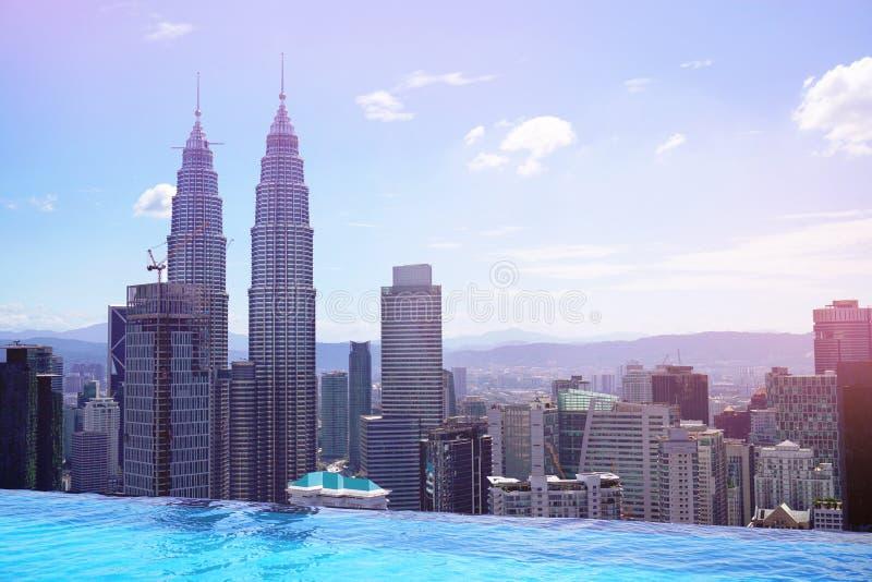 De luchtmening van Kuala Lumpur van zwembad stock afbeeldingen