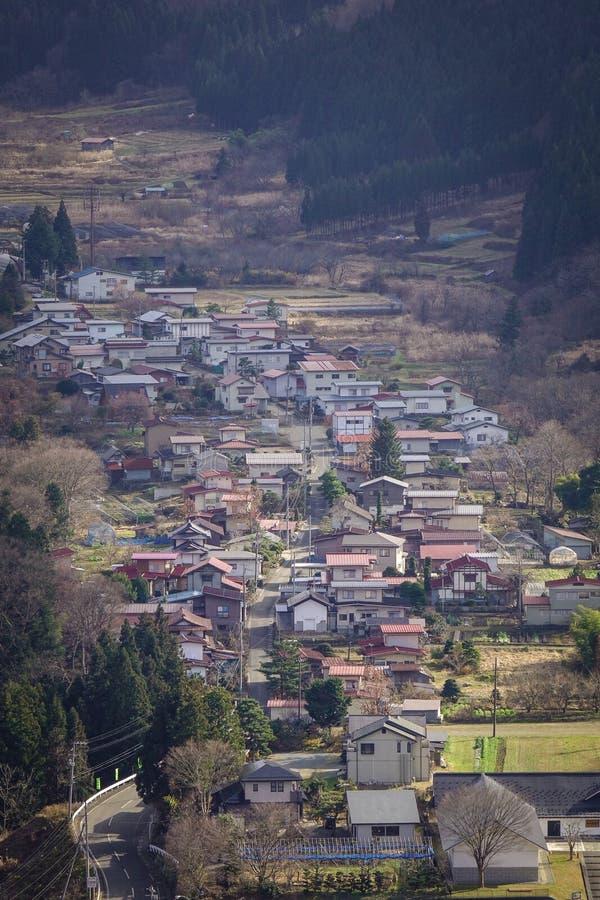 De luchtmening van onsen dorp bij de herfst royalty-vrije stock fotografie