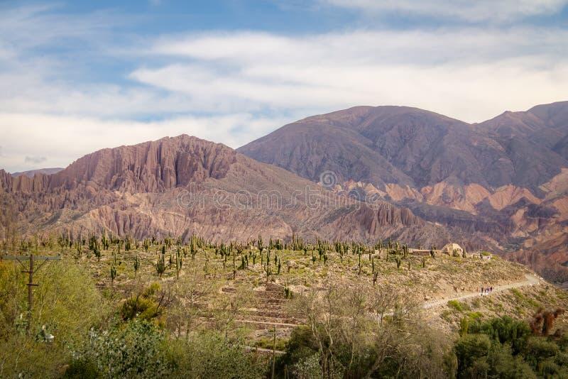De luchtmening van Pucara DE Tilcara pre-inca ruïneert - Tilcara, Jujuy, Argentinië stock afbeeldingen