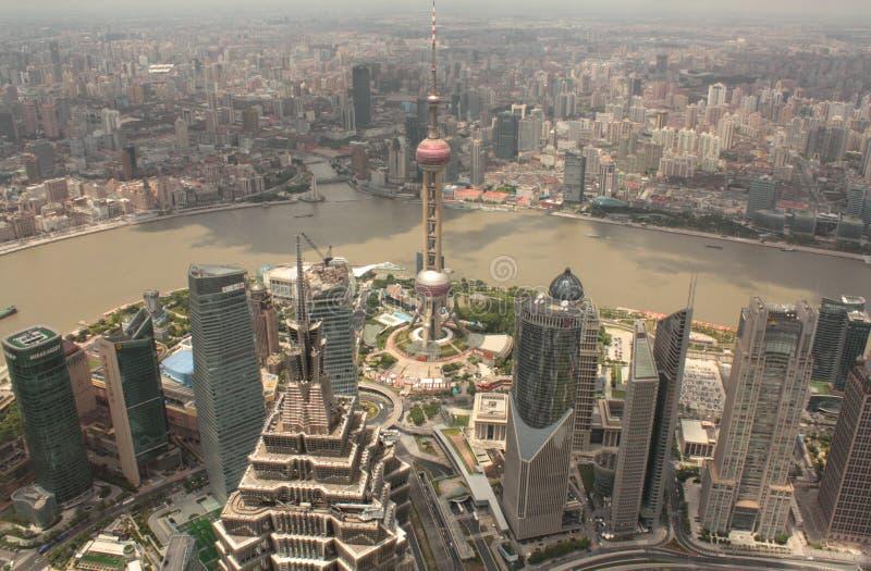 De luchtmening van Shanghai Pudong royalty-vrije stock afbeelding