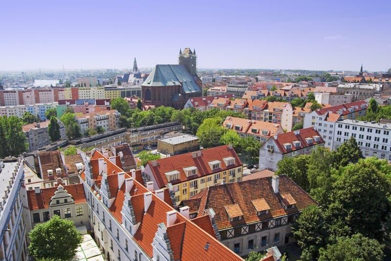 De LuchtMening van Szczecin royalty-vrije stock afbeelding