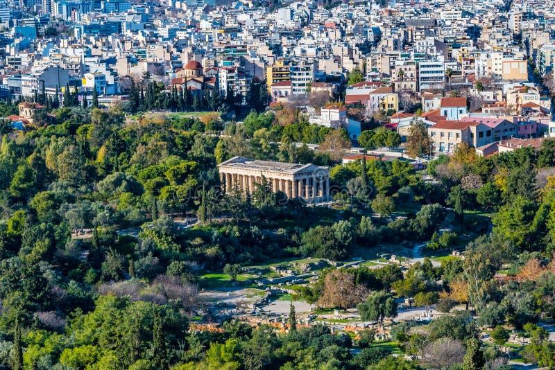 De luchtmening van de Tempel van Hephaestus of Hephaisteion is een goed-bewaarde Griekse tempel in de westelijke perimeter van Ag royalty-vrije stock foto
