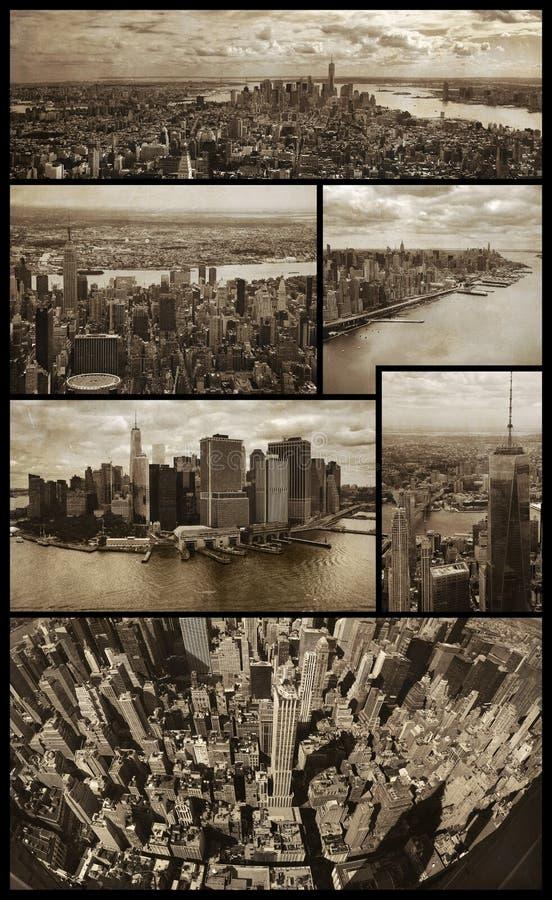 De luchtmeningen van Manhattan over grunge royalty-vrije stock foto