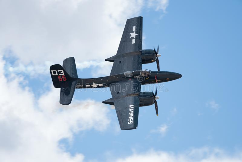 De luchtparade van Grumman F7F-3P Tigercat royalty-vrije stock foto