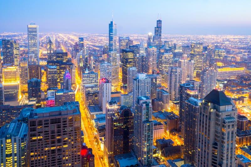 De luchtstad van Chicago de stad in stock foto