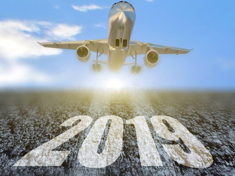 de luchtvaart van het de reisvliegtuig van 2019 fligthsvakantie - het 3d teruggeven royalty-vrije illustratie